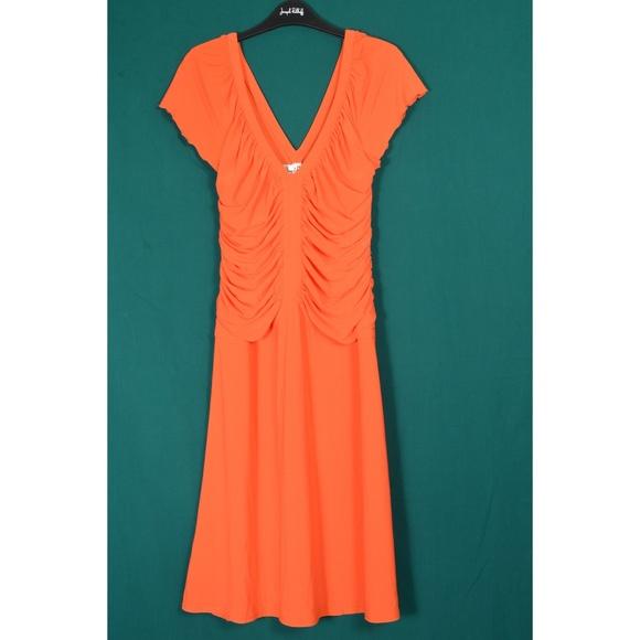 Joseph Ribkoff Dresses & Skirts - Joseph Ribkoff dress SZ 12 bright orange ruched V